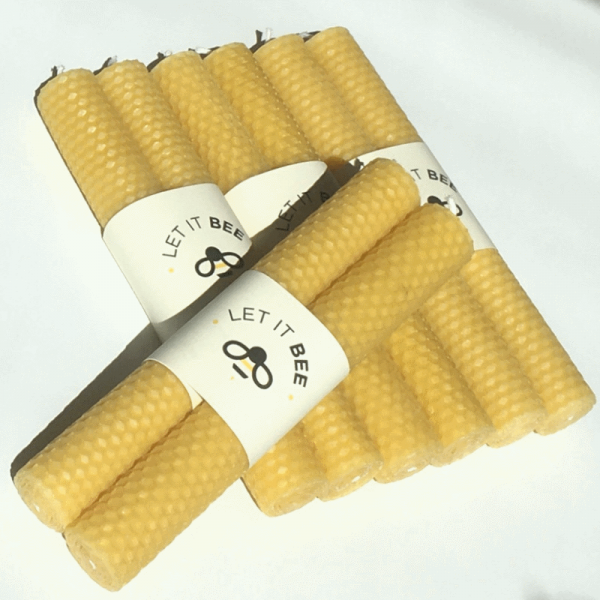 4 pairs of Let It Bee Pure Beeswax Candles