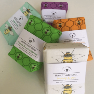 5 wrapped bars of Handmade Soap in different varieties