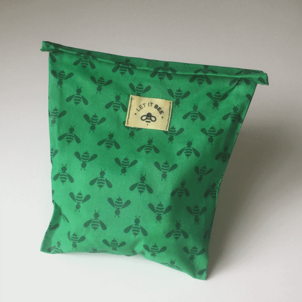 Beeswax snack bag closed and sealed