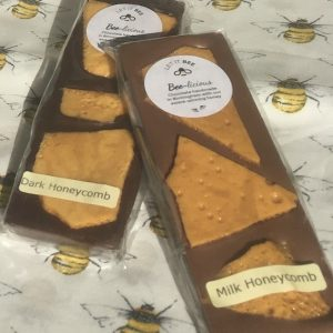 Honeycomb chocolate bars in dark and milk