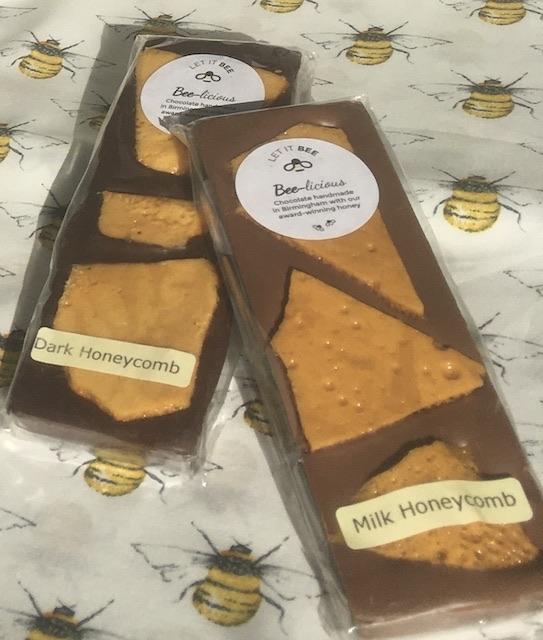 Honeycomb chocolate bars in dark and milk